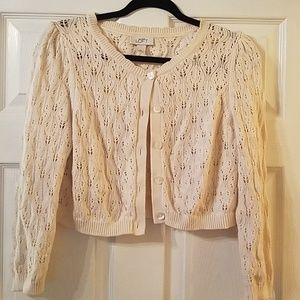 Loft cream cropped cardigan sz M